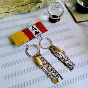 Handmade Earrings, Tibetan Silver Chain Earrings